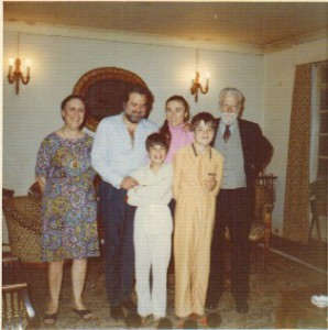 Left to right: Mary Stephanides, Spyros Mercouris, Pyrrhus Mercouris, Alexia Mercouris, Alexander Mercouris, Theodore Stephanides, in Bayswater just before moving to our current house