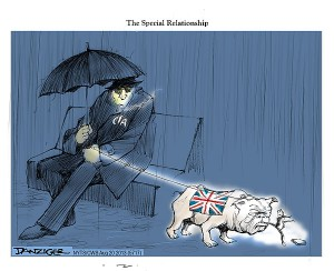 Special Relationship. US-UK, America -Britain, CIA, Edward Snowden, Miranda, Greenwald, political cartoon